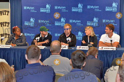 Andy Roddick Photo - 16 October 2012 - Pittsburgh PA - TEAM ELTON (l to r TAYLOR TOWNSEND ANDY RODDICK SIR ELTON JOHN MARTINA NAVRATILOVA and JAN-MICHAEL GAMBILL) attend the Press Conference before the Mylan WTT Smash Hits World Team Tennis Match held at the Petersen Events Center The 20th anniversary edition of Mylan WTTSmash Hits presented by GEICO was one for the record books with the event posting a record 1 million for the Elton John AIDS Foundation with a portion of those proceeds benefitting the Pittsburgh AIDS Task Force Theevent hosted annually by Sir Elton John and Billie Jean King has now raised more the 115 million to support HIV and AIDS prevention and awareness programs since the first Smash Hits was held in Los Angeles in 1993  Photo Credit Jason L NelsonAdMedia