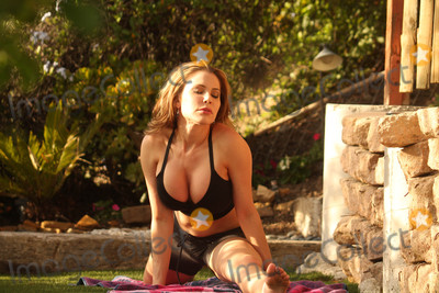 Pilate Photo - Erika Jordanthe Playboy Host and BroMyGod Sex Expert is spotted wearing a skimpy outfit doing pilates in the park Topanga State Park Woodland Hills CA 05-02-16