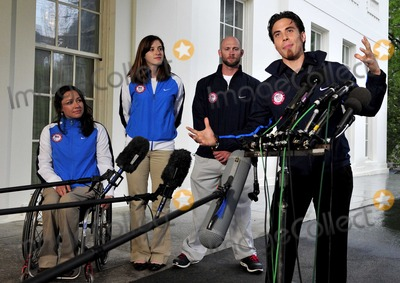 Apolo Ono Photo - Apolo Anton Ohno Olympic Short Track Speed Skater makes remarks to reporters after meeting United States President Barack Obama and first lady Michele Obama at the White House in Washington DC on Wednesday April 21 2010  From left to right Alana Nichols Paralympic Sit Skiier Katherine Reutter Olympic Speed Skater Heath Calhoun Paralympic Sit Skiier and Apolo OnoPhoto by Ron SachsPool-CNP-PHOTOlinknet