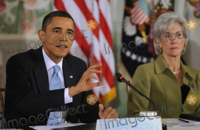 Kathleen Sebelius Photo - United States President Barack Obama left delivers opening remarks at a bipartisan meeting to discuss health reform legislation at the Blair House in Washington DC USA 25 February 2010 President Obama is hosting a televised health care summit with Republican and Democratic lawmakers in efforts to craft healthcare overhaul legislation  US Secretary of Health and Human Services Kathleen Sebelius looks on from rightPhoto by Shawn ThawPool -CNP-PHOTOlinknet