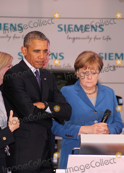 Angela Merkel Photo - US-President BARACK OBAMA and German chancellor ANGELA MERKELvisiting the  Hannover Messe 25042016