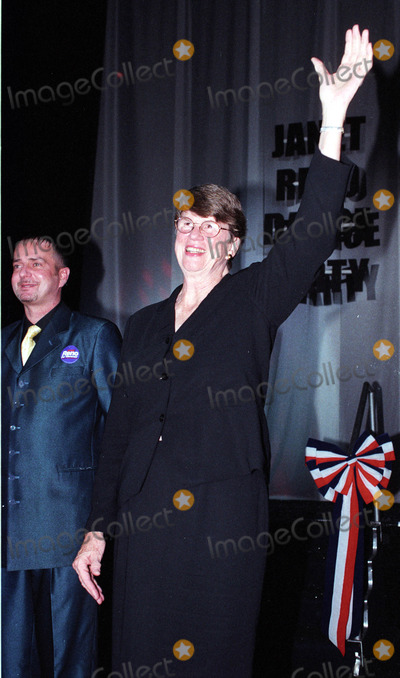 Janet Reno Photo - 19 July 2002 - Miami Beach Florida - Ex-Attorney General of the United States Janet Reno comes out on stage to greet the crowd at her world premiere of Janet Renos Dance Party a fund raiser at Level night club South Beach Miami Beach Florida REF KGUS2054 Please Byline New York Photo Press    NY Photo Press    phone (646) 267-6913     e-mail infocopyrightnyphotopresscom