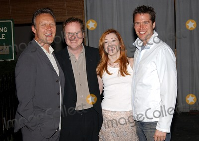 Anthony Stewart Head Photo -  Party to Celebrate the Final Buffy the Vampire Slayer Series at Miauhaus in Los Angeles CA 4182003  Photo by Fitzroy Barrett  Globe Photos Inc 2003 Anthony Stewart Head Joss Whedon with Alyson Hannigan and Her Fiance Alexis Denisof