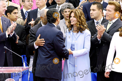 Inauguration Ceremony Photo - City of Los Angeles Inaugural Ceremony For the New Mayor Antonio Villaigosa Held on the South Lawn of City Hall on July 1 2005 Councilman Bernard Parks 8th District Mayor Antonio Villaraigosa and Maria Shriver and Governor Arnold