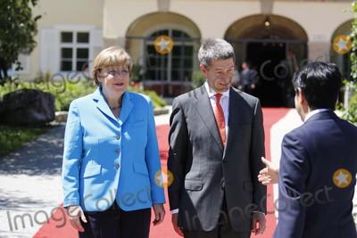 Angela Merkel Photo - German Chancelor Angela Merkel and Her Husband Joachim Sauer Welcome Guests at the G7 Summit at Elmau Castle Near Garmisch-partenkirchen Germany on 07 June 2015 Photo Alec Michael