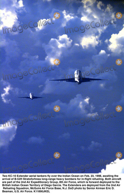 DIEGO GARCIA Photo - 980223-F-1206B-003Two KC-10 Extender aerial tankers fly over the Indian Ocean on Feb 23 1998 awaiting the arrival of B-52H Stratofortress long-range heavy bombers for in-flight refueling  Both aircraft are part of the 2nd Air Expeditionary Group 8th Air Force which is forward deployed to the British Indian Ocean Territory of Diego Garcia  The Extenders are deployed from the 2nd Air Refueling Squadron McGuire Air Force Base NJ  DoD photo by Senior Airman Eric D Beaman US Air Force