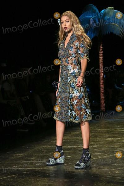 Anna Sui Photo - Gigi Hadid Walks in the Anna Sui Fashion Show Skylight at Moynihan Station NYC September 16 2015 Photos by Sonia Moskowitz Globe Photos Inc