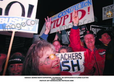 George Bush Photo -  George Bushs Supporters Celebrates His Certification in Florida Election Texas 11262000 Photo by Jeff NewmanGlobe Photosinc