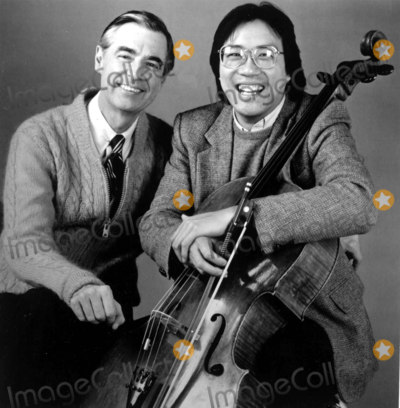 Mr Rogers Photo - Mister Rogers Welcomes Cellist Yo-yo Ma As a Guest on Mister Rogers Neighborhood During the Production of a New Week About Music May 13-17 1985 (Pbs) Photorangefinders  Globe Photos Inc Fredrogersretro (Mr Rogers)
