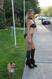Photos From Nadeea Volianova spotted in a tiny bikini walking her dog