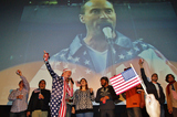 Lee Greenwood Photos - Christmas Premier of the Contoversial Film the Interview at the Alamo Drafthouse Ritz Location in Austin Texas on 12252014superpatriots Recruited From the Audience Sing Along with Alamo Ceo Tim League to Lee Greenwoods God Bless the USA