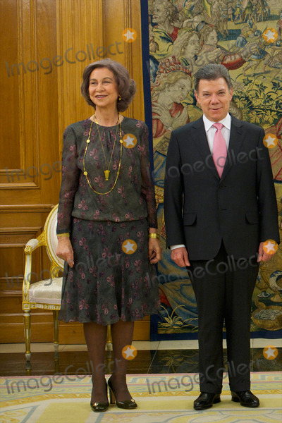 King Queen Photo - 22-01-2014 King Queen Sofia during a meeting with the president of Colombia Juan Manuel Santos Calderon at the Zarzuela palace in MadridNo Spain PPEThortonCredit PPEface to face- No Rights for Netherlands -