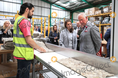 Prince Photo - 19 July 2019 - Staffordshire UK - Prince Charles during a visit to Woolcool in Stone in Staffordshire to learn how they use sheeps wool to create alternative sustainable packaging for food and medicine Photo Credit ALPRAdMedia