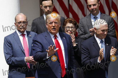 The National Photo - United States President Donald J Trump left replies to the media after US Vice President Mike Pence right spoke after signing HR 7010 - PPP Flexibility Act of 2020 in the Rose Garden of the White House in Washington on June 5 2020 Standing in the back row from left to right Director of the National Economic Council Larry Kudlow Tyler Goodspeed member of Council of Economic Advisers Jovita Carranza administrator US Small Business Administration (SBA) US Secretary of Labor Eugene Scalia and US Secretary of the Treasury Steven T MnuchinCredit Yuri Gripas  Pool via CNPAdMedia