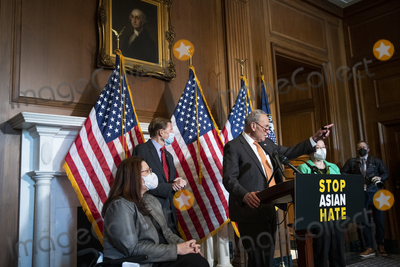 The Used Photo - United States Senate Majority Leader Chuck Schumer (Democrat of New York) second from right is joined by United States Senator Tammy Duckworth (Democrat of Illinois) left United States Senator Richard Blumenthal (Democrat of Connecticut) second from left and United States Senator Mazie Hirono (Democrat of Hawaii) right during a press conference following Senate passage of the COVID-19 Hate Crimes Act at the US Capitol in Washington DC Thursday April 22 2021 Credit Rod Lamkey  CNPAdMedia