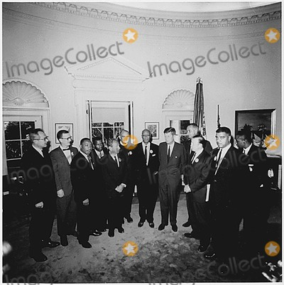 Kennedy Photo - Washington DC -- Photograph of the Presidents meeting with the leaders of the March on Washington on August 28 1963  Left to Right Willard Wirtz Martin Luther King Jr Eugene Carson Blake John F Kennedy Lyndon Baines Johnson Walter Reuther Others not in order A Philip Randolph John Lewis Whitney Young Mathew Ahmann Joachin Prinz Roy Wilkins Floyd McKissickCredit White House via CNPAdMedia