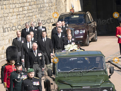 Prince Photo - Photo Must Be Credited Alpha Press 073074 17042021Princess Anne Princess Royal Prince Charles Prince of Wales Prince Andrew Duke of York Prince Edward Earl of Wessex Prince William Duke of Cambridge Peter Phillips Prince Harry Duke of Sussex Earl of Snowdon Viscount Lord David Linley David Armstrong-Jones and Vice-Admiral Sir Timothy Laurence follow Prince Philip Duke of Edinburghs coffin on a modified Jaguar Land Rover during the Ceremonial Procession during the funeral of Prince Philip Duke of Edinburgh at St Georges Chapel in Windsor Castle in Windsor Berkshire No UK Rights Until 28 Days from Picture Shot Date AdMedia