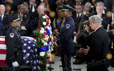 Alex Wong Photo - Speaker of the United States House of Representatives Nancy Pelosi (Democrat of California) and US House Minority Leader Kevin McCarthy (Republican of California) lay a wreath during a memorial service for the late US Representative Elijah Cummings (Democrat of Maryland) at the Statuary Hall of the US Capitol October 24 2019 in Washington DC Rep Cummings passed away on October 17 2019 at the age of 68 from complications concerning longstanding health challenges Credit Alex Wong  Pool via CNPAdMedia