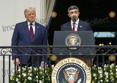 Benjamin Netanyahu Photo - Sheikh Abdullah bin Zayed bin Sultan Al Nahyan Minister of Foreign Affairs and International Cooperation of the United Arab Emirates makes remarks during the signing ceremony of the Abraham Accords on the South Lawn of the White House in Washington DC on Tuesday September 15 2020  Looking on at left is United States President Donald J TrumpCredit Chris Kleponis  Pool via CNPAdMedia