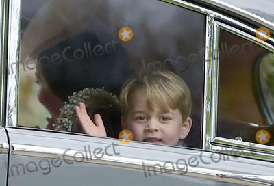 Prince George Photo - 20 May 2017 - Catherine Duchess of Cambridge with her children Prince George of Cambridge and Princess Charlotte of Cambridge at the wedding of James Matthews and Pippa Middleton at St Marks Church Englefield Berkshire UK Photo Credit ALPRAdMedia