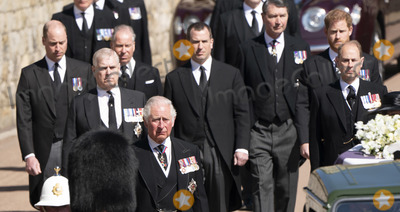 Prince Edward Photo - Photo Must Be Credited Alpha Press 073074 17042021Prince Charles Prince of Wales Prince Andrew Duke of York Prince Edward Earl of Wessex Prince William Duke of Cambridge Peter Phillips Prince Harry Duke of Sussex Earl of Snowdon Viscount Lord David Linley David Armstrong-Jones and Vice-Admiral Sir Timothy Laurence follow Prince Philip Duke of Edinburghs coffin on a modified Jaguar Land Rover during the Ceremonial Procession during the funeral of Prince Philip Duke of Edinburgh at St Georges Chapel in Windsor Castle in Windsor Berkshire No UK Rights Until 28 Days from Picture Shot Date AdMedia