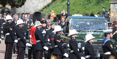 Prince William Photo - Photo Must Be Credited Alpha Press 073074 17042021Prince Charles Prince of Wales Prince William Duke of Cambridge Prince Harry Duke of Sussex and Vice-Admiral Sir Timothy Laurence follow Prince Philip Duke of Edinburghs coffin on a modified Jaguar Land Rover during the Ceremonial Procession during the funeral of Prince Philip Duke of Edinburgh at St Georges Chapel in Windsor Castle in Windsor Berkshire No UK Rights Until 28 Days from Picture Shot Date AdMedia
