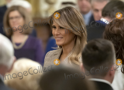 The Ceremonies Photo - First lady Melania Trump prepares to depart following the ceremony where United States President Donald J Trump presented the Presidential Medal of Freedom to US Army General John M Jack Keane (retired) in the East Room of the White House in Washington DC on Tuesday March 10 2020  Keane is a former Vice Chief of Staff of the US Army and is a Fox News national security analystCredit Ron Sachs  CNPAdMedia