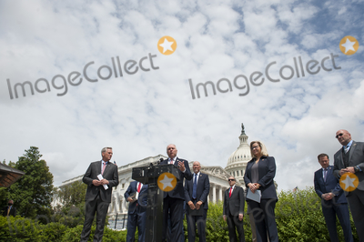 House Speaker Nancy Pelosi Photo - House Minority Whip Rep Steve Scalise (R-LA center) offers remarks as he is joined by House Minority Leader Rep Kevin McCarthy (R-Calif left) House GOP Conference Chairwoman Liz Cheney (R-WY) and others to announce that Republican leaders have filed a lawsuit against House Speaker Nancy Pelosi and congressional officials in an effort to block the House of Representatives from using a proxy voting system to allow for remote voting during the coronavirus pandemic outside of the US Capitol in Washington DC Wednesday May 27 2020 Credit Rod Lamkey  CNPAdMedia