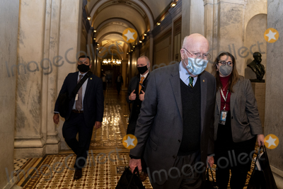 The Used Photo - United States Senator Patrick Leahy (Democrat of Vermont) President pro tempore of the US Senate center wears a protective mask while departing the US Capitol in Washington DC US on Saturday Feb 13 2021 Donald Trumps second impeachment trial ended in a not guilty verdict on a vote of 57-43 short of the two-thirds majority requiredCredit Stefani Reynolds - Pool via CNPAdMedia