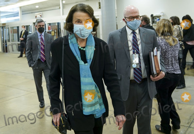 Dianne Feinstein Photo - Sen Dianne Feinstein (D-Cali) is seen in the Capitol Subway at the US Capitol in Washington DC on Friday February 12 2021 The legal team for former President Donald Trump begins their presentation of defense today    Credit Leigh Vogel - Pool via CNPAdMedia