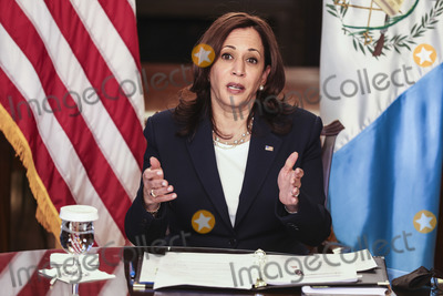 Kamala Harris Photo - United States Vice President Kamala Harris speaks during a virtual bilateral meeting with President Alejandro Giammattei of Guatemala in the Vice Presidents Ceremonial Office in the Eisenhower Executive Office Building on the White House campus about the migration crisis on April 26 2021 in Washington DC Credit Oliver Contreras  Pool via CNPAdMedia