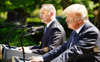White House Photo - US President Donald J Trump (R) and Polish President Andrzej Duda hold a joint press conference in the Rose Garden of the White House in Washington DC USA 24 June 2020 Duda a conservative nationalist facing a tight re-election race back home is the first foreign leader to visit the White House in more than three monthsCredit Jim LoScalzo  Pool via CNPAdMedia