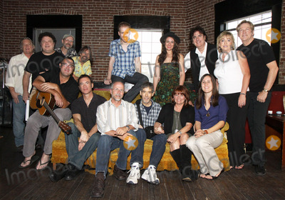 Buddy Greene Photo - July 26 2011 - Nashville TN - (back row l-r) Name unknown Bill Lloyd Jeff TaylorJim Hoke Brent Anderson Alyssa Bonagura Michael Bonagura Cynthia Martinez and John Jorgenson (front row l-r) Vince Gill Mark Selby Buddy Greene Pete Huttlinger Kathy Baillie and Sean Della Croce Artists musicians and songwriters came together at Mercy Lounge to help raise funds for Pete Huttlinger a widely respected guitarist and Nashville studio artist  Huttlinger has a congenital heart disease and is in need of a heart transplant Photo credit Dan HarrAdmedia