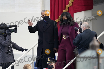 Barack Obama Photo - Former United States President Barack Obama and Michelle Obama arrive prior to US Joe Biden taking the Oath of Office as the 46th President of the US at the US Capitol in Washington DC on Wednesday January 20 2021  Credit Chris Kleponis  CNPAdMedia