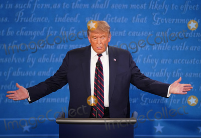 Presidential Campaign Photo - President Donald Trump speaks during the first of three scheduled 90 minute presidential debates with Democratic presidential nominee Joe Biden in Cleveland Ohio on Tuesday September 29 2020Credit Kevin Dietsch  Pool via CNPAdMedia