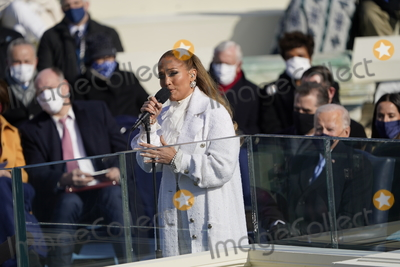 JENNIFER LOPEZ Photo - Jennifer Lopez performs prior to United States President Joe Biden taking the Oath of Office as the 46th President of the US at the US Capitol in Washington DC on Wednesday January 20 2021  Credit Chris Kleponis  CNP