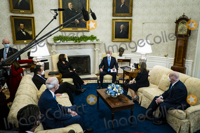 Andrew Cuomo Photo - President Joe Biden and Vice President Kamala Harris meet with governors and mayors in the Oval Office in Washington DC on Friday Feb 12 2021 to discuss the vital need to pass the American Rescue Plan which will get more support to their communities and those on the front lines of the fight against COVID-19 Attending whereGovernor Andrew Cuomo (D-NY) Governor Asa Hutchinson (R-AR)Governor Michelle Lujan Grisham (D-NM)Governor Larry Hogan (R-MD)Mayor Keisha Lance Bottoms (D-Atlanta GA)Mayor Latoya Cantrell (D-New Orleans LA)Mayor Mike Duggan (D-Detroit MI)Mayor Francis Suarez (R-Miami FL)Mayor Jeff Williams (R-Arlington TX)Credit Pete Marovich  Pool via CNPAdMedia