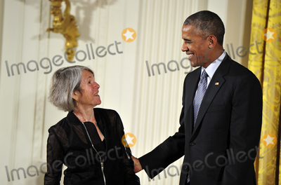 President Barack Obama Photo - In this file photo from September 22 2016 United States President Barack Obama presents the 2015 National Humanities Medal to Louise Glck Poet of Cambridge Massachusetts during a ceremony in the East Room of the White House in Washington DC  On October 8 2020 the Nobel Prize announced Louise Glck was being awarded the 2020 Nobel Prize in LiteratureCredit Ron Sachs  CNPAdMediaAdMedia