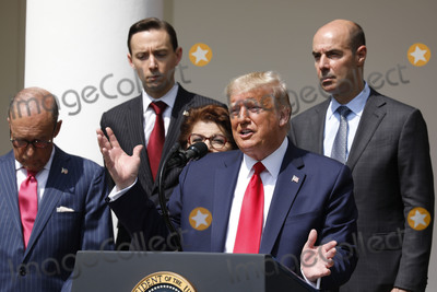 The National Photo - United States President Donald J Trump delivers remarks before signing HR 7010 - PPP Flexibility Act of 2020 in the Rose Garden of the White House in Washington DC on June 5 2020  Pictured behind the president from left to right Director of the National Economic Council Larry Kudlow Tyler Goodspeed member of Council of Economic Advisers Jovita Carranza administrator United States Small Business Administration (SBA) and US Secretary of Labor Eugene ScaliaCredit Yuri Gripas  Pool via CNPAdMedia