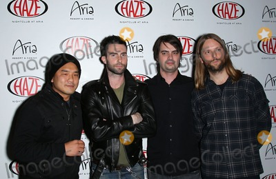 Adam Levine Photo - 08 January 2011 - Las Vegas Nevada - Gene Hong Adam Levine Sam Farrar James Valentine  Adam Levine and James Valentine from Maroon 5 perform at Haze Nightclub at Aria Resort  Casino at CityCenter Photo MJTAdMedia