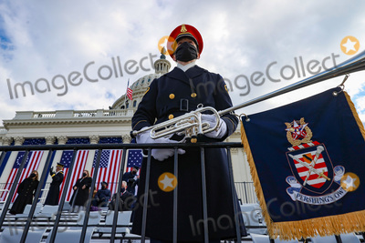 US Army Photo - WASHINGTON DC - JANUARY 20 A member of the US Army Band Pershings Own looks on ahead of the inauguration of US President-elect Joe Biden on the West Front of the US Capitol on January 20 2021 in Washington DC  During todays inauguration ceremony Joe Biden becomes the 46th president of the United States Credit Tasos Katopodis  Pool via CNPAdMedia