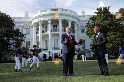Mariano Rivera Photo - United States President Donald J Trump speaks with Mariano Rivera the MLB Hall of Fame Closer from the Yankees while welcomes young players to mark the Opening Day of the Major League Baseball Season on the South Lawn of the White House in Washington on July 23 2020 Credit Yuri Gripas  Pool via CNPAdMedia