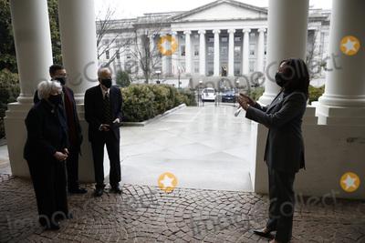 White House Photo - United States Vice President Kamala Harris (R) talks to new US Secretary of the Treasury Janet Yellen after she being sworn in at the White House in Washington on January 26 2021 Credit Yuri Gripas  Pool via CNPAdMedia