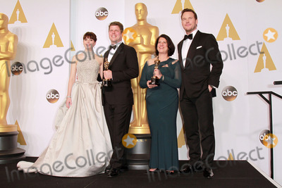 Anna Pinnock Photo - 22 February 2015 - Hollywood California -(L-R) Actress Felicity Jones Adam Stockhausen Anna Pinnock winners of the Best Production Design Award for The Grand Budapest Hotel and presentor Chris Pratt pose in the press room during the 87th Annual Academy Awards presented by the Academy of Motion Picture Arts and Sciences held at the Dolby Theatre Photo Credit Theresa BoucheAdMedia