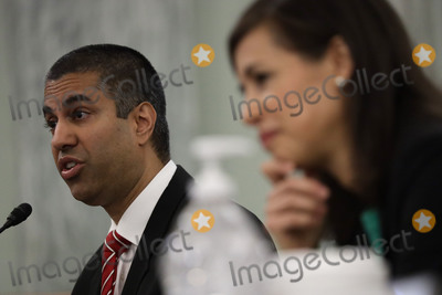 Alex Wong Photo - Ajit Pai Chairman Federal Communications Commission (FCC) left testifies during a United States Senate Committee on Commerce Science and Transportation oversight hearing to examine the Federal Communications Commission in Washington DC on June 24 2020 Jessica Rosenworcel Commissioner Federal Communications Commission (FCC) listens at rightCredit Alex Wong  Pool via CNP  Pool via CNPAdMedia