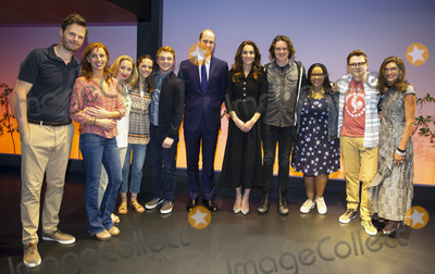 The Cast Photo - 25022020 - Prince William Duke of Cambridge and Kate Middleton Duchess of Cambridgewith the cast Rupert Young Rebecca McKinnis Lauren Ward Lucy Anderson Sam Tutty Doug Colling Nicole Raquel Dennis Jack Loxton at a charity performance of musical Dear Evan Hansen at the Noel Coward Theatre London in aid of the Royal Foundation Photo Credit ALPRAdMedia