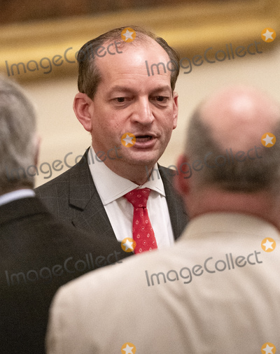 Alex Acosta Photo - United States Secretary of Labor Alex Acosta in conversation prior to US President Donald J Trump making remarks highlighting the achievements on Second Chance hiring and workforce development in the East Room of the White House in Washington DC on Thursday June 13 2019 Photo Credit Ron SachsCNPAdMedia