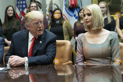 The Interns Photo - United States President Donald J Trump congratulates NASA astronauts Jessica Meir and Christina Koch from the White House in Washington DC after they conducted the first all-female spacewalk outside of the International Space Station on Friday October 18 2019  With Trump is First Daughter and Advisor to the President Ivanka TrumpCredit Chris Kleponis  Pool via CNPAdMedia