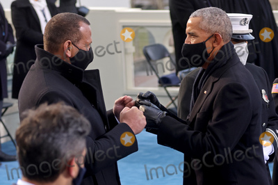 Barack Obama Photo - Former US President Barack Obama and dormer baseball player Alexander Rodriguez greet during the inauguration of Joe Biden as the 46th President of the United States on the West Front of the US Capitol in Washington US January 20 2021 REUTERSJonathan ErnstPoolAdMedia