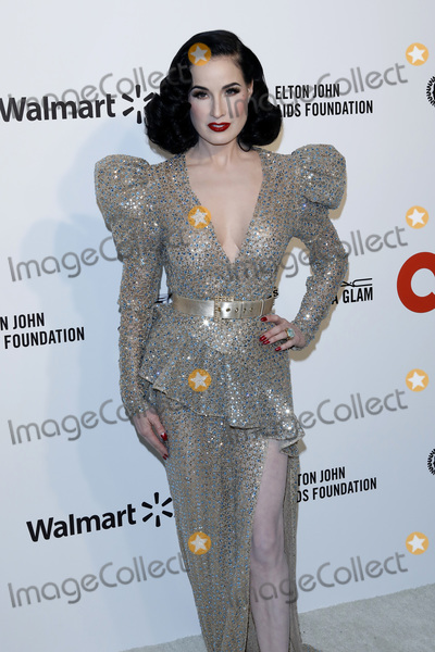 Dita Von Teese Photo - LOS ANGELES - FEB 9  Dita Von Teese at the 28th Elton John Aids Foundation Viewing Party at the West Hollywood Park on February 9 2020 in West Hollywood CA